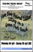 Five Blue Haired Ladies Sitting On a Green Park Bench